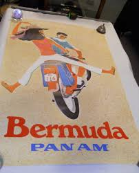 Item Vintage 1960s Pan American Am Travel Poster To Bermuda Couple On Scooter Sold For 182500