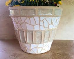 Mosaic Planter Large Stone Flower Pot Rustic By MoZEHicDesigns