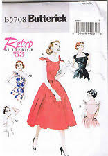 Easy Vintage 50s Retro Rockabilly Strapless Or Tie Dress Pattern 14 16 18 20 22