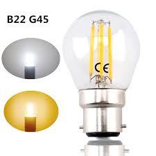 b22 g45 led filament bayonet light bulb 4w 220v led g45 b22 glass