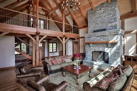 Leather And Fabric Sofa Living Room Rustic With Area Rug Beams