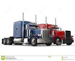 100 Toy Big Trucks Red And Blue Modern Semi Trailer Side By Side Stock