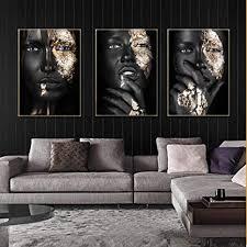 slagman schwarz gold silber nackte afrikanische kunst frau malerei auf leinwand bild poster und drucke 3 stück skandinavischen wandbild für wohnzimmer