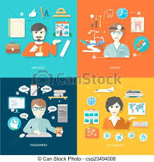 Travel Agent Architect Dentist And Programmer Vector