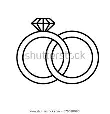 Wedding rings linear icon Thin line illustration Interlocked wedding ring with diamond contour symbol