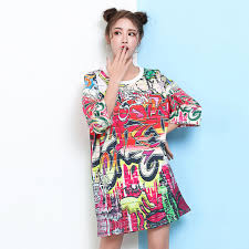 Europe New Fashions 2017 Summer Trendy Women Stylish Loose Graffiti T Shirt Dress Harajuku Girls Cool