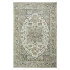 Allen Roth Avignon Ivory Soft Green Indoor Handcrafted Novelty Area Rug Common 5