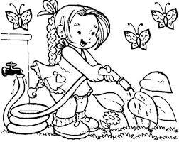 Coloring Pages Printable Property Free Pictures For Children Butterfly Grass Flower Blossom Girl Fine