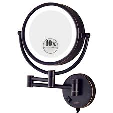 lights lighted makeup mirror wall mounted sided bathroom