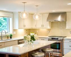 traditional home kitchen lighting with brown floor and pendant