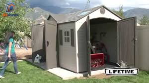 lifetime 15x8 plastic shed c w dual entry 60079 youtube