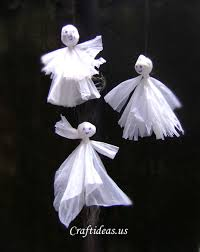Recycling Ideas For Halloween Ghosts From Plastic Bags