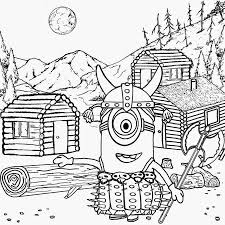 Norse Mythology Childrens Simple Minion Coloring Pages Printable Thor Viking God Costume Horned Hat