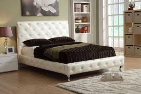 Roma Tufted Wingback Bed by Bedroom White Tufted Headboard With Nailhead Trim For Bedroom