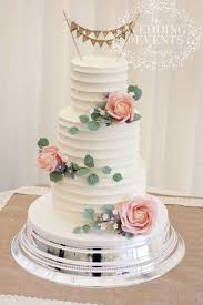 Rustic Buttercream Wedding Cake With Sugar Pink Roses Greenery Wax Flower And Hessian Bunting