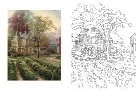Posh Adult Coloring Book Thomas Kinkade Designs For Inspiration Relaxation