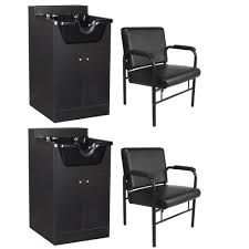 2x salon spa shoo cabinet bowl sink with chair package hair