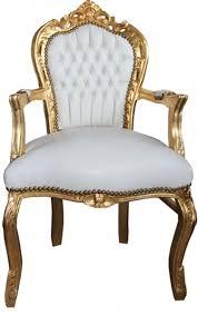 casa padrino barock esszimmer stuhl mit armlehnen weiß gold lederoptik barockgroßhandel de