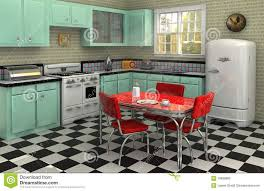 Linoleum Keep It Out Of Kitchens Here We See A Chic Retro Style Kitchen With Black And White Checkerboard Pattern Floor Off Green Features