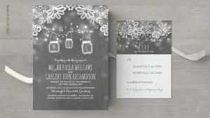 Read More RUSTIC CHALKBOARD MASON JAR LIGHTS AND LACE WEDDING INVITES