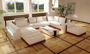 Luxury White Modular Sectional Sofa With Recessed Lighting