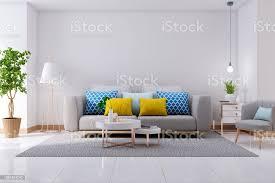 luxuriöse moderne interieur des sofa im wohnzimmer grau auf weißem boden und weiße wand 3drendering stockfoto und mehr bilder architektur