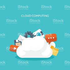 100 Flat Cloud Vector Illustration Computing Background Data Storage