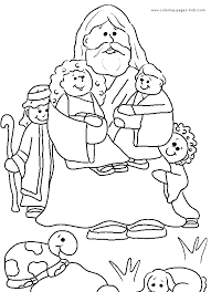 Jesus And Children Color Page Bible Story Religious Religion Coloring Pages