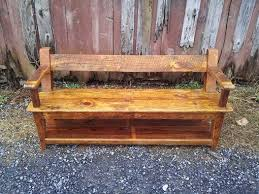 Buy Hand Made Reclaimed Wood Relaxed Back Farm Bench With Armrests