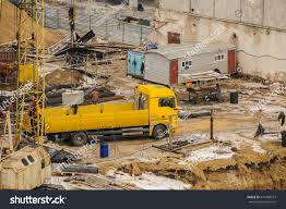 Hydraulic Crusher Excavator Machinery Working On Site Demolition ...