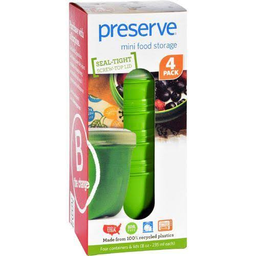 Preserve Mini Food Storage - 240ml, Apple Green, 4 pack