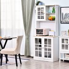 homcom küchenschrank mit arbeitsplatte weiß natur 80 x 37 x 183 cm lxbxh geschirrschrank esszimmerschrank hochschrank schrank