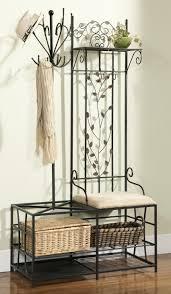 Black Polished Iron Foyer Bench With White Fabric Cushioned Seat