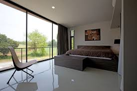 Fantastic Modern Master Bedroom Decor With Large Brown Bed Added Open Views Floor To Ceiling Windows For Designs
