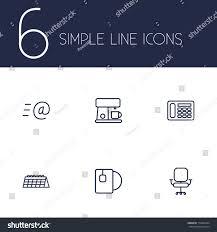 bureau simple set 6 bureau outline icons setcollection เวกเตอร สต อก 719064334