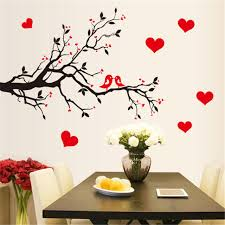 Red Love Heart Wall Stickers Bird Decal Bedroom Living Room DIY Removable PVC Art Wallpaper Beautiful