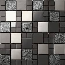 Grey Stone Blend Stainless Steel Glass Mosaic Tile Black And Silver Colour Group Modu Wallpaper Wp6405933