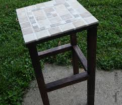 diy tiled end table sawdust to sequins