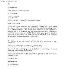 Letter Intent For Job Letter Intent For A Job Transfer Letter