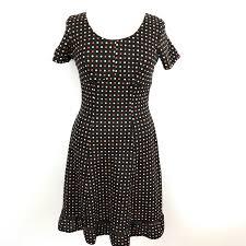 vintage spotted dress brown polka dot crimplene frock uk 10 12