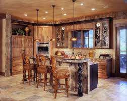 Stylish Triple Brushed Bronze Pendant Lights Over Island With Wooden Backchairs Stools As Well Unfinished Cabinetry Sets In Rustic Kitchen Ideas