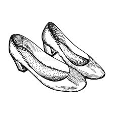 Download Womens Shoes Vector Vintage Sketch Stock