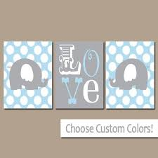 Yellow Gray Elephant Wall Art Nursery Canvas Artwork Boy Girl Child Twins LOVE Polka Dots Custom Colors Set Of 3 Prints ThreeDiy