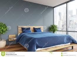 graues schlafzimmer blaues bett stock abbildung