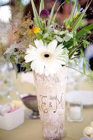 Personalized Birch Wood Vase Rustic Chic Wedding Decor