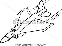 Jet Fighter Plane Coloring Page Vector