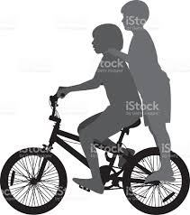 Two Kids Riding A Bike Silhouette Stock Vector Art 484534978