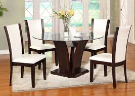 Camelia White Glass Round Dining Room Table W 4 Side Chairs