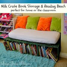 The Milk Crate Book Storage And Reading Bench Encourages Kids To Sit Down With Books During