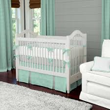 Luxury Baby Bedding with Green White Crib Bedding Sets Mint Green